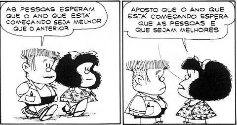 Mafalda Quino as pessaos esperam que o ano que esta comecando seja melhor